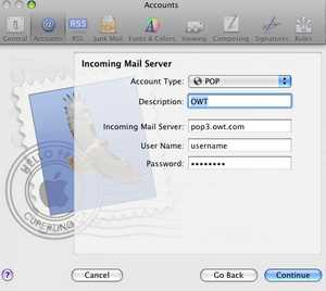 Image Title: Apple Mail: New Account Setup; Incoming Mail Server