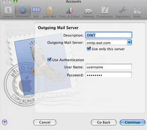 Image Title: Apple Mail: New Account Setup; Outgoing Mail Server